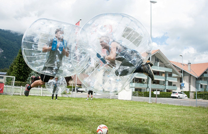 Try the bubble ball games at Balmers Hostel