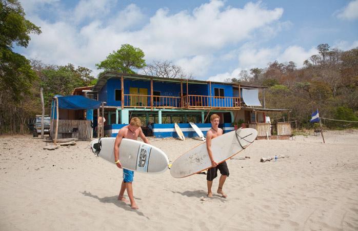 Hang ten with new friends at Playa Maderas