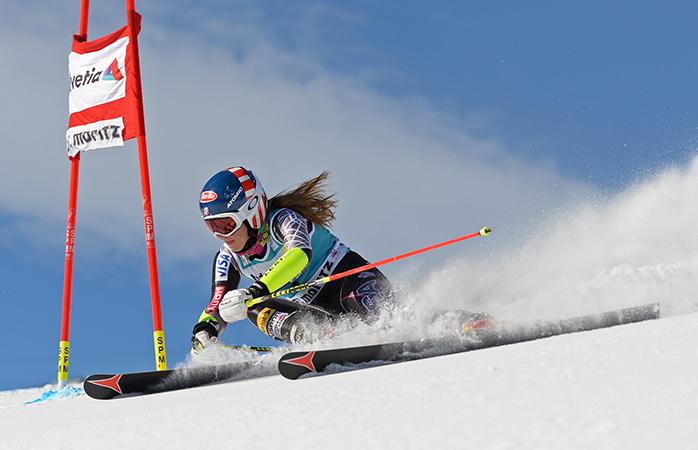 Mikaela Shiffrin speeds down the slope during the 2013 Audi FIS Alpine Ski World Cup giant slalom race in St Moritz, Switzerland