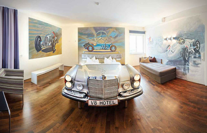 Cars, spanners, wheels, grease – find all manner of motor-related motley at V8 Hotel