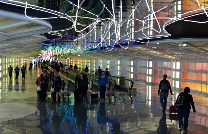 "The ""Sky's the Limit"" art exhibition connects Concourse B and C in the Chicago O'Hare Airport"