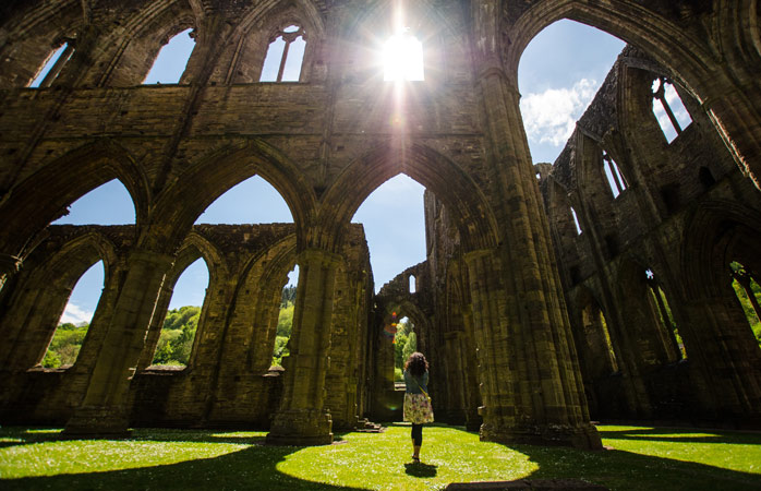 Stand in the middle of Tintern Abbey's remains