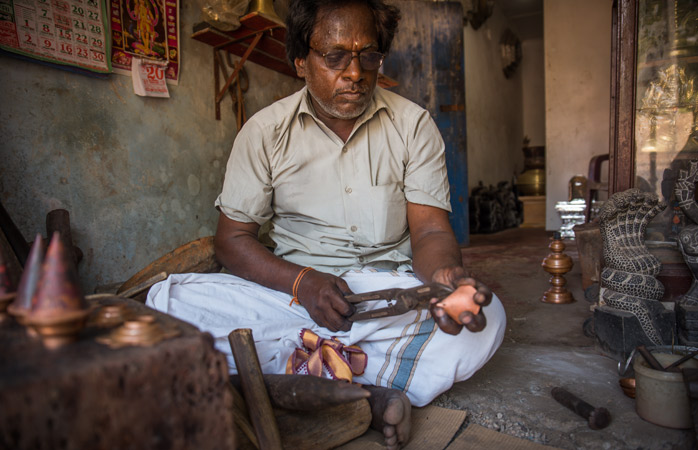 A craftsman in his workshop in Jaffna