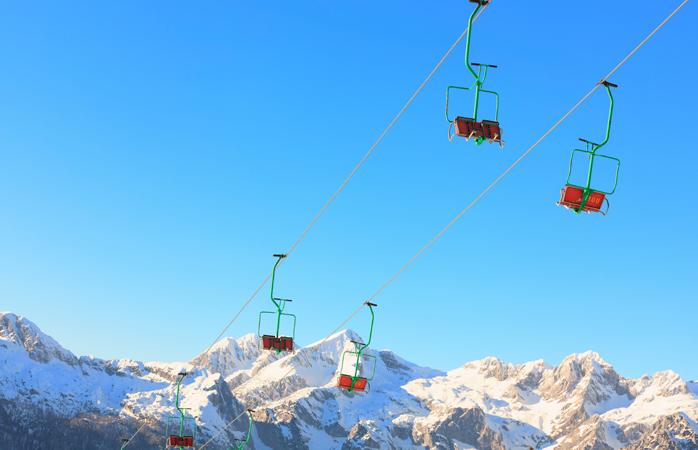Colourful Slovenian ski lifts at Kranjska Gora, Slovenia