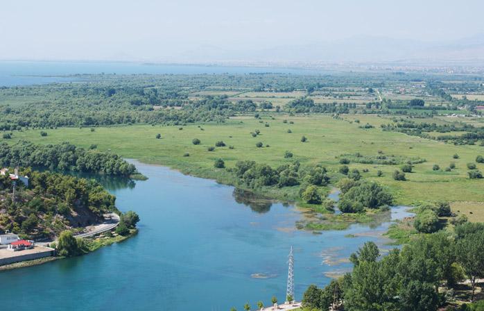 View from Rozafa Castle in Shkodër and across Bojana River