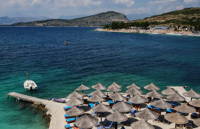 Kicking back on a sunbed at the Albanian Riviera – not bad at all
