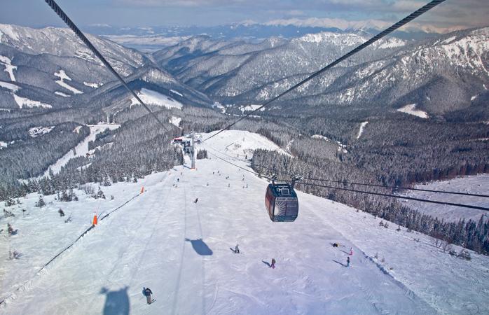 The modern Funitel cable car on Chopok peak - Jasna, Slovakia