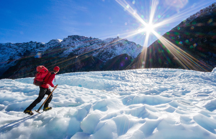 Take a trekking holiday this winter to the Fox Glacier in Westland Tai Poutini National Park, New Zealand