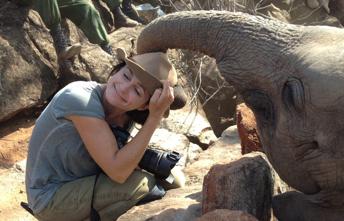 Ami with elephant Shaba at the Reteti Elephant Sanctuary in Kenya. Shaba was collected by helicopter in 2016 after her mother had been shot dead by poachers