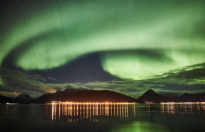 Northern lights on the island of Senja