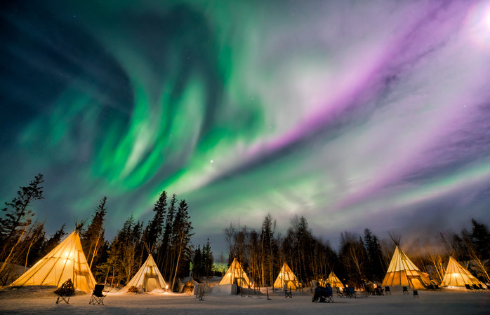 Take in the Northern Lights from a tepee in Yellowknife