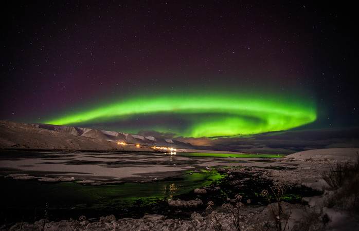 Take in the spectacle of lights from Iceland's second largest city, Akureyri