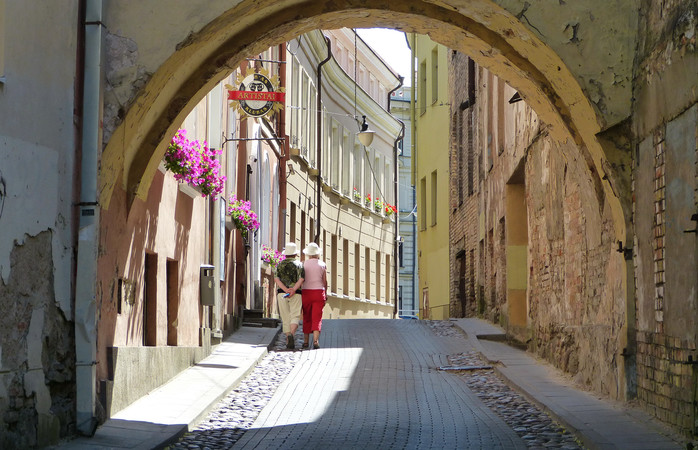Medieval cobblestoned streets wind through Vilnius