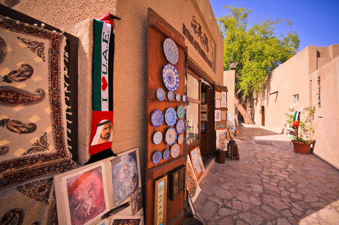 Explore the art galleries and cafés in the Al Bastakiya neighbourhood