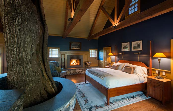North American has lots of luxury tree house suite options, but the 'cottage' at Connecticut's Winvian is our favourite.