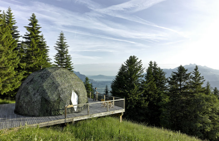 The Whitepod hotel at the foot of the Alps