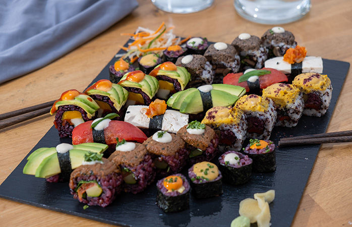 Might be difficult to say 'no' to vegetarian sushi at Roots and Rolls