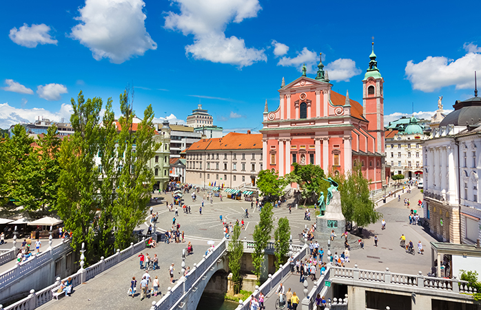 Car-free and bustling with activity: Ljubljana's city centre